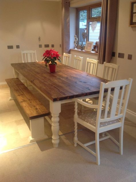Rustic Farmhouse Shabby Chic Solid 10 Seater Dining Table Bench .