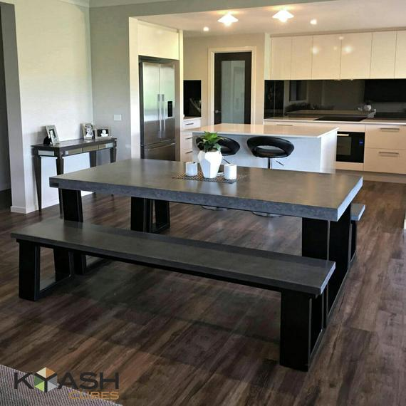 Polished concrete 8 to 10 seater 2.1m dining table with bench   Et