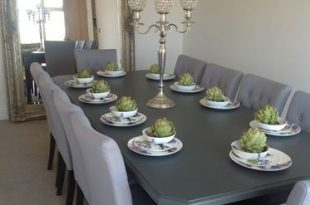 8-10 seater Large Dining table, High gloss black + painted top .