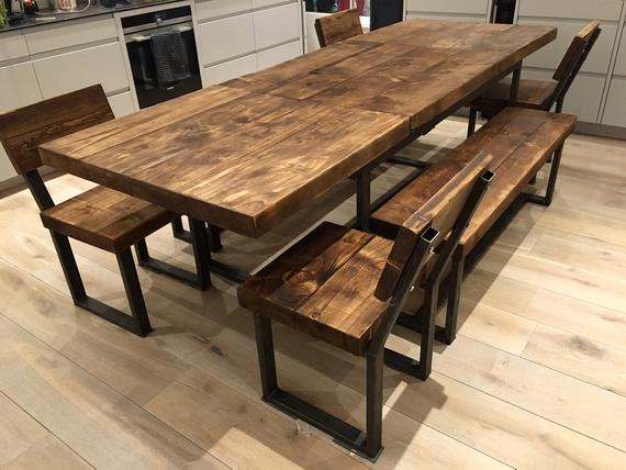 Reclaimed Industrial Chic 6-10 Seater Extending Dining Table | Et