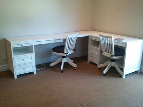 Corner 2 Person Desk with Drawers and Matching Rolling Chairs for .