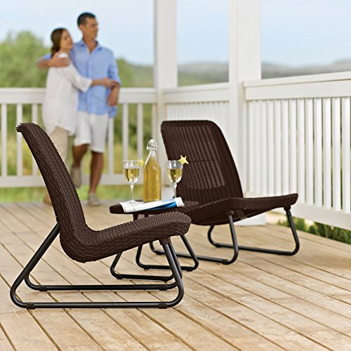 Keter Rio 3 Piece Wicker Patio Conversation S