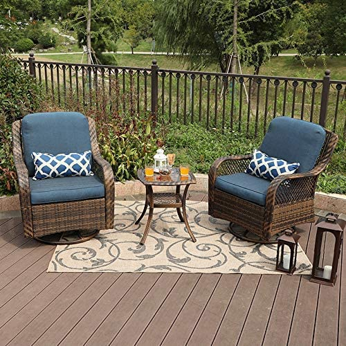Amazon.com: PHI VILLA 3 Piece Patio Furniture Set Outdoor Rattan .