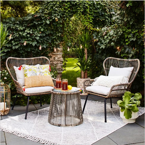 Latigo 3pc Rattan Patio Chat Set - Brown - Opalhouse™ : Targ
