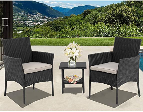 Amazon.com: Wicker Patio Furniture 3 Piece Patio Set Chairs Bistro .