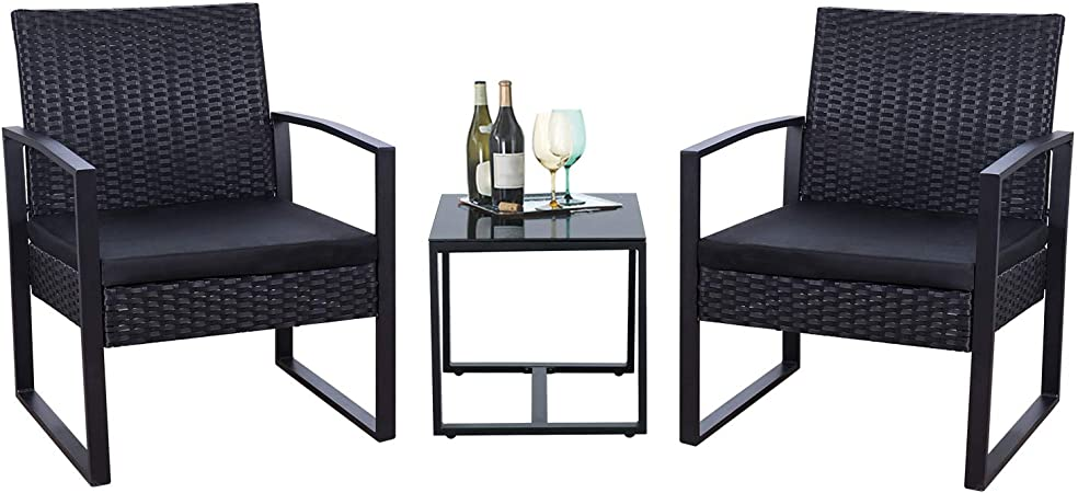 Amazon.com: Flamaker 3 Pieces Patio Set Outdoor Wicker Patio .