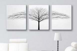 Tree of Life Wall Art White Canvas Art Large Wall Decor Modern Art .