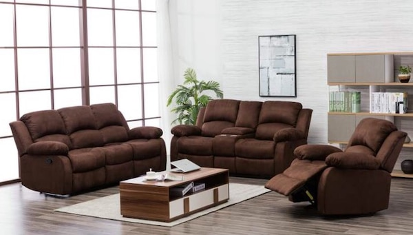 Used 20200 Chocolate Microfiber 3-Piece Reclining Living Room Set .