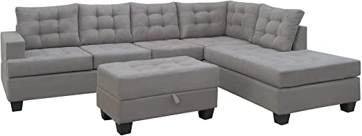 Amazon.com: Sofa 3-Piece Sectional Sofa with Chaise Lounge and .