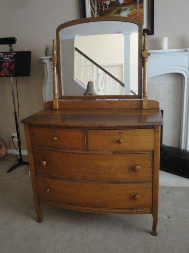 Antique 4 Drawer Wood Dresser with Mirror | eBay | Antique bedroom .