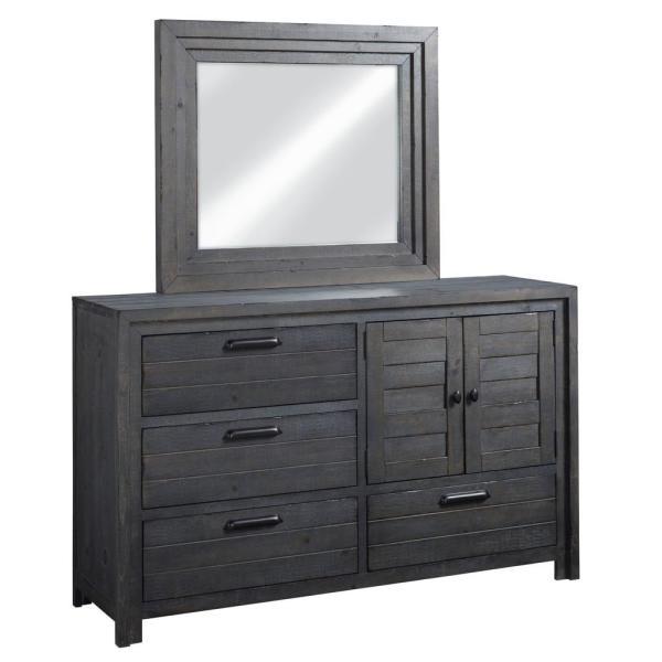 Progressive Furniture Theory 4-Drawer Distressed Dark Gray Dresser .