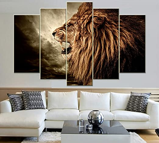 Amazon.com: IDECAL 5-Piece Roaring Lion Canvas Print Wall Art .