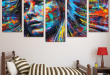 5 Piece Framed Colorful Haired Abstract Woman Canvas Prints on .