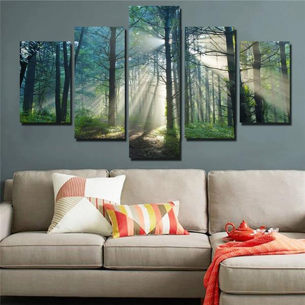 Beautiful Sunrise Sun Rays In Tree Forest Framed 5 Piece Canvas .