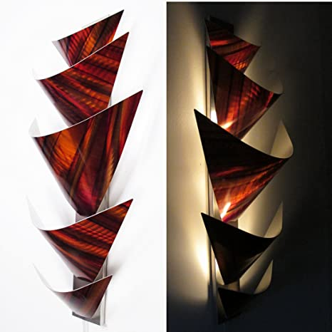 Modern Abstract Metal Wall Art Sculpture Lamp LED Accent Lighting .