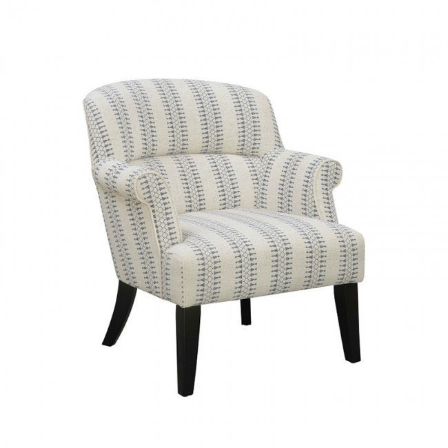 Small Space Roll Arm Accent Chair (Cream/ Blue) Accentrics Home .