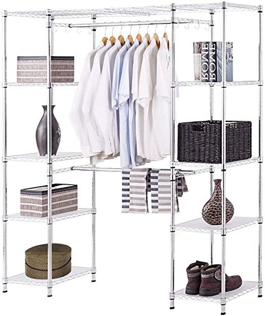 Amazon.com: Tangkula Expandable Garment Rack, Portable Adjustable .