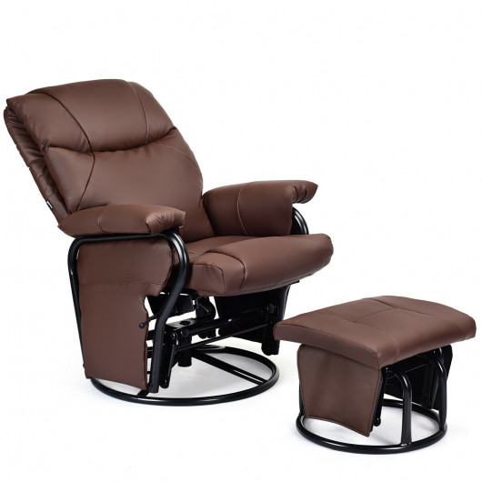 Glider Recliner with Ottoman, 2 Massaging Zones & 4 Vibration .