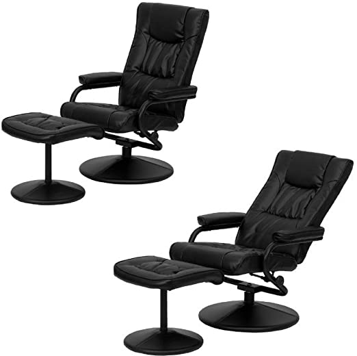 Amazon.com: Black Modern Leather Recliner with Ottoman Swiveling .