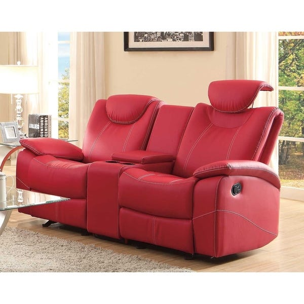 Shop Glider Recliner Loveseat With Adjustable Headrest And Center .