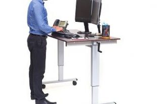 Adjustable Height Computer Desk - Mobile Sit and Stand Computer De
