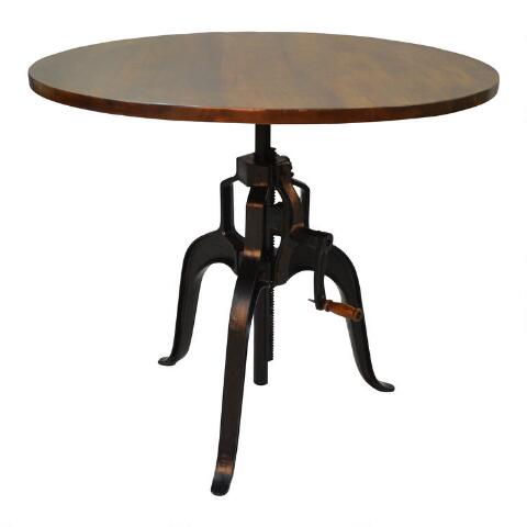 Wood and Metal Carlyle Adjustable Height Dining Table   World Mark