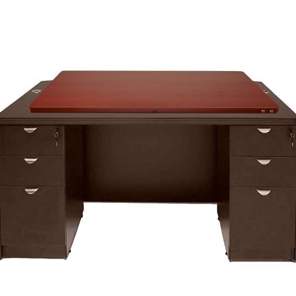 Mind Reader Electric Powered Adjustable Standing Desk in Brown .
