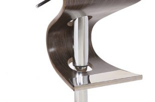 Modern Style Adjustable Swivel Bar Stool with Curved Seat and Back .