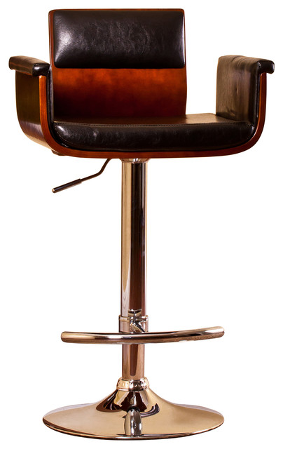 Padded Wood Back, Adjustable Swivel Barstool With Armrests .