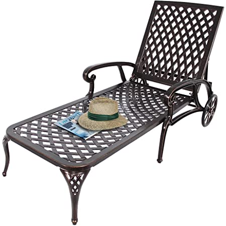 Amazon.com : HOMEEFUN Chaise Lounge Outdoor Chair, Aluminum Pool .