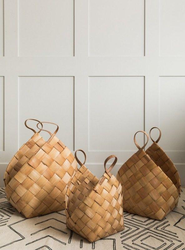 Set of Three Conical Woven Baskets | Basket weaving, Basket .