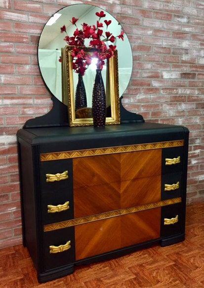 painted furniture, painted dresser, art deco dresser, waterfall .