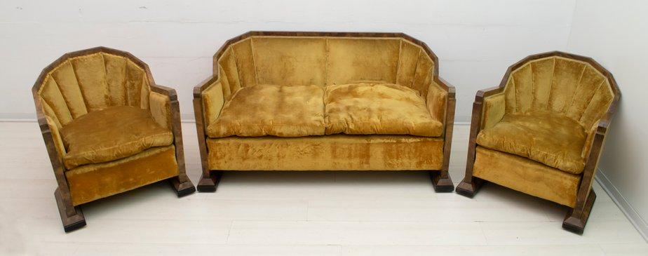 Art Deco Sofa and Armchairs Set by Gaetano Borsani for Atelier .