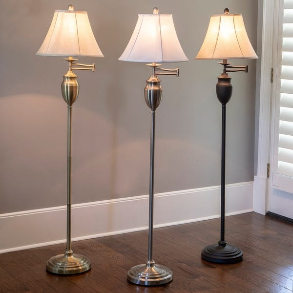 Shop Antique Brass Swing-arm Floor Lamp with Faux Silk Shade - On .