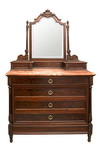 Old Vintage Antique Chest Of Drawers With A Mirror Stock Photo .