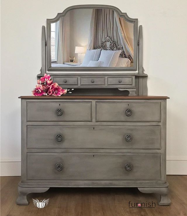 Antique Chest of Drawers with Mirror Given a beautiful upcycle by .