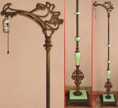 ANTIQUE 1920s? Bent Bridge FLOOR LAMP w/JADEITE GREEN GLASS Art .