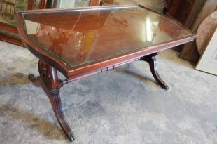 Antique Mahogany Coffee Table – Glass Top & Harp Base – So Nice .