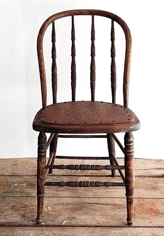 Primitive Antique Spindle Back Chair, Urban Farmhouse, Kitchen .
