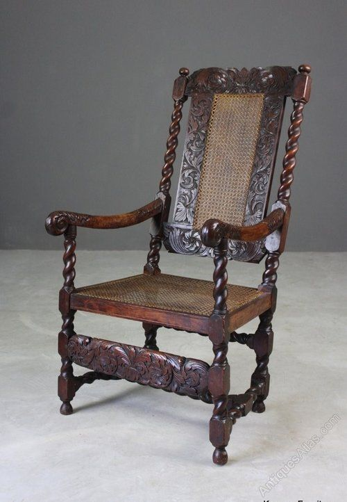 Antique Carved Oak Open Arm Chair - Antiques Atlas (With images .