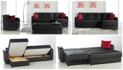 Apartment Size Sectional Sofa Beds With Storage Black Eco Leather .