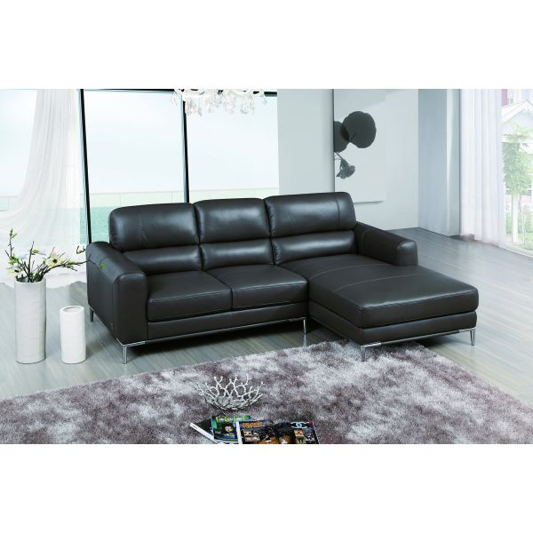 Crosby Apartment Size Leather Sectional with Facing Right Chai