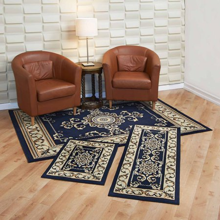 Capri 3 Piece Rug Set - Royal Crown - Navy 3 Piece Capri Area Rug .