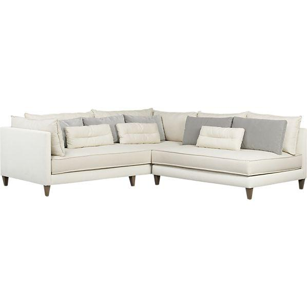 White 2-Piece Armless Sectional So