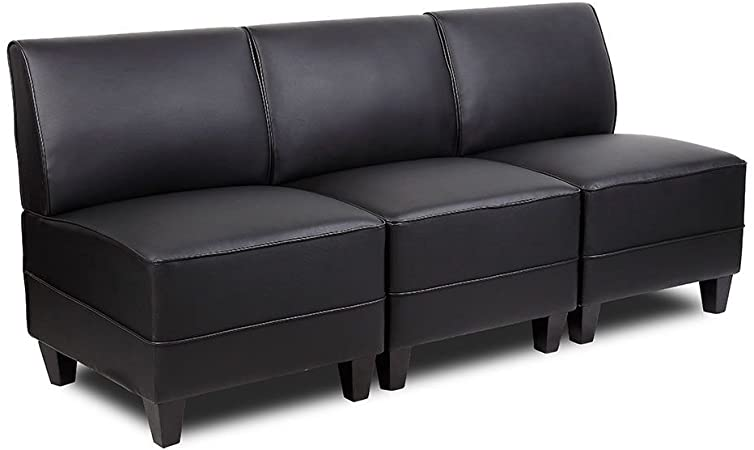 Amazon.com: Tyler Faux Leather Armless Sectional Sofa Dimensions .