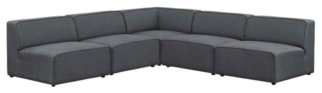 Mingle 5-Piece Upholstered Fabric Armless Sectional Sofa Set .