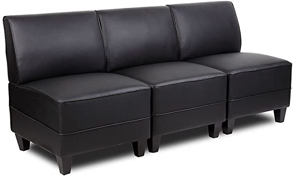 Amazon.com : Tyler Armless Sectional Sofa in Faux Leather .