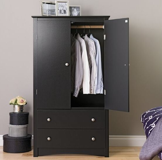 Wood Armoire Wardrobe Clothes Closet Bedroom Home Storage Cabinet .