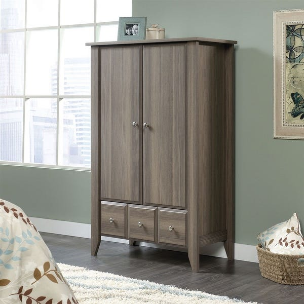 Shop Bedroom Wardrobe Armoire Storage Cabinet in Ash Wood Finish .