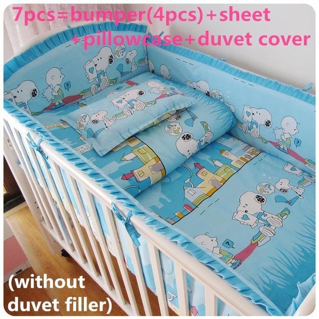 Promotion! 6/7PCS Baby Boy Crib Bedding set / Boy Cot set Nursery .